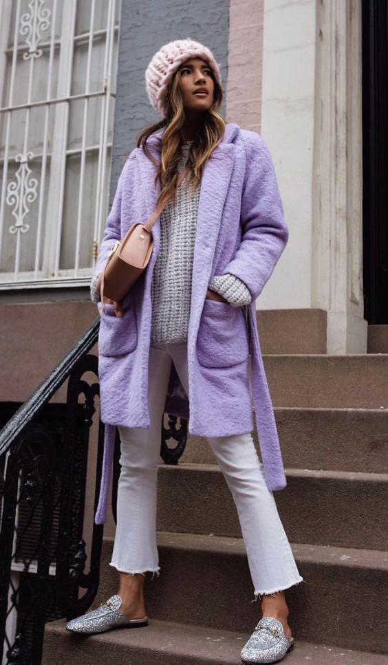 Come vestirsi in autunno - cappotto color lavanda